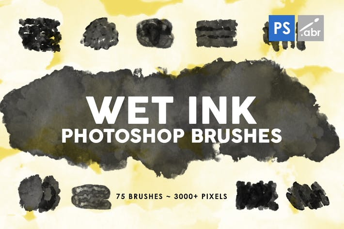 Cover Image For 75 Wet Ink Photoshop Stamp Brushes