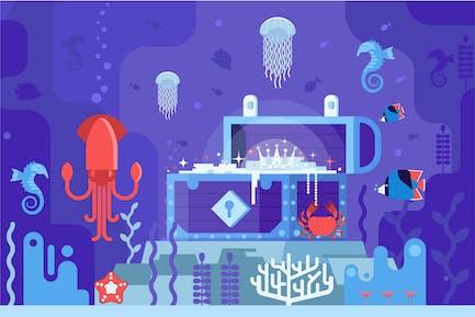 Cofre de oro del tesoro subacuático en el fondo del mar