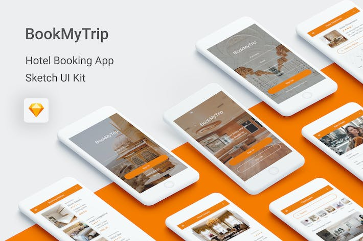 Thumbnail for BookMyTrip - Hotel Booking UI Kit for Sketch