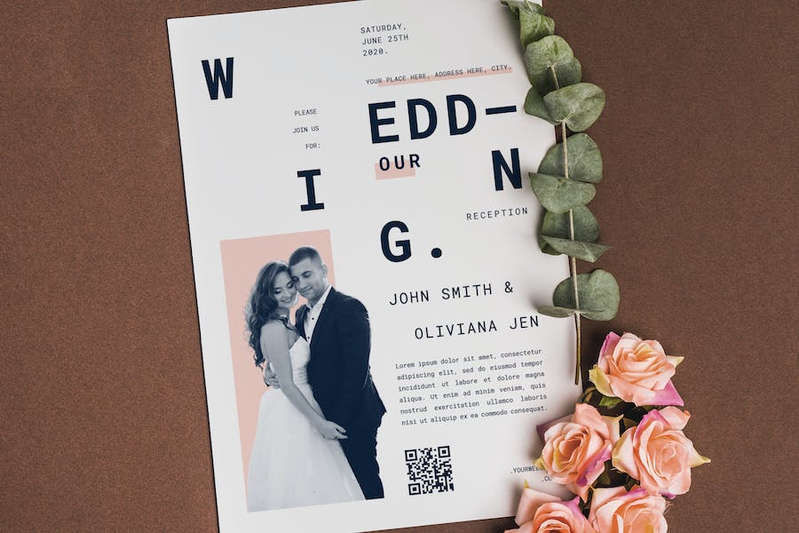 Simple and Clean Wedding Invitation
