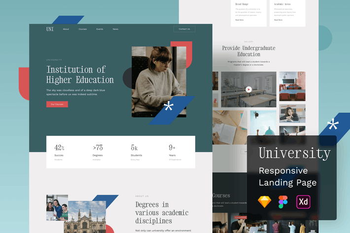 Thumbnail for University Responsive Landing Page