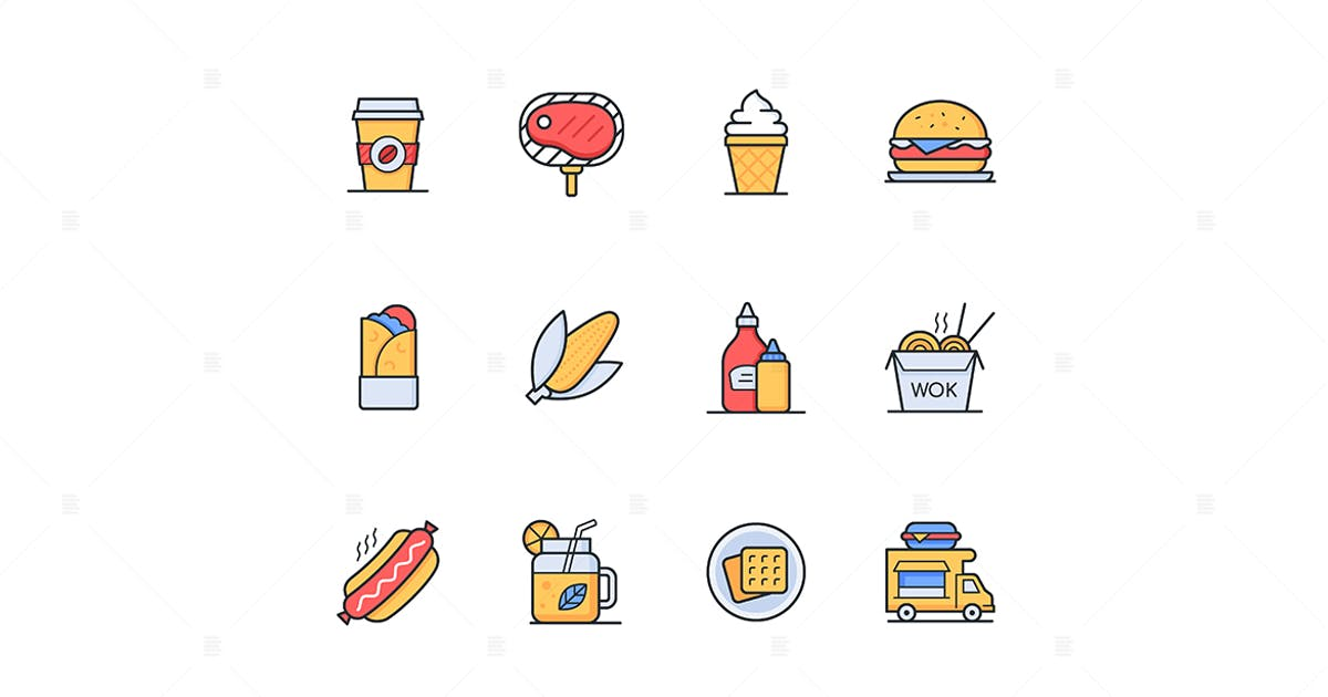 Download Street food - line design style icons set by BoykoPictures