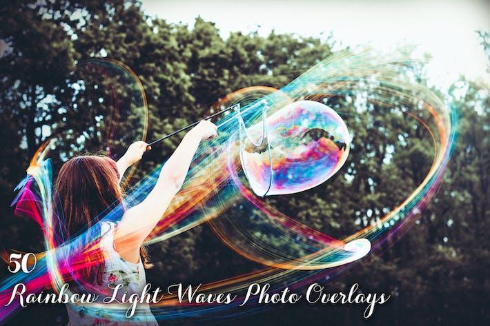 50 Радужные световые волны Фото Наложения