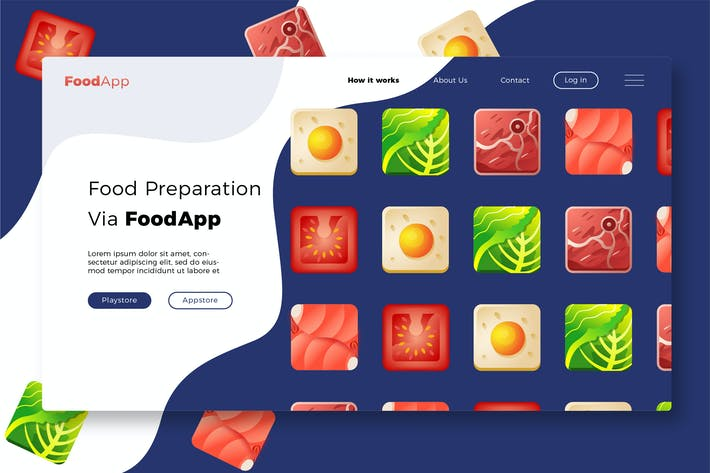 Thumbnail for Foodapp - Banner & Landing Page