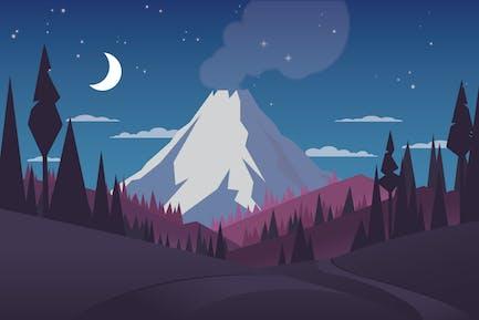 Vulkan - Landschaft Illustration