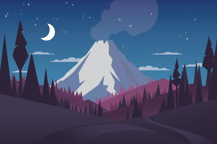 Volcano - Landscape Illustration