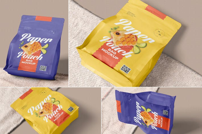 Thumbnail for Sealed Paper Pouch Mockups