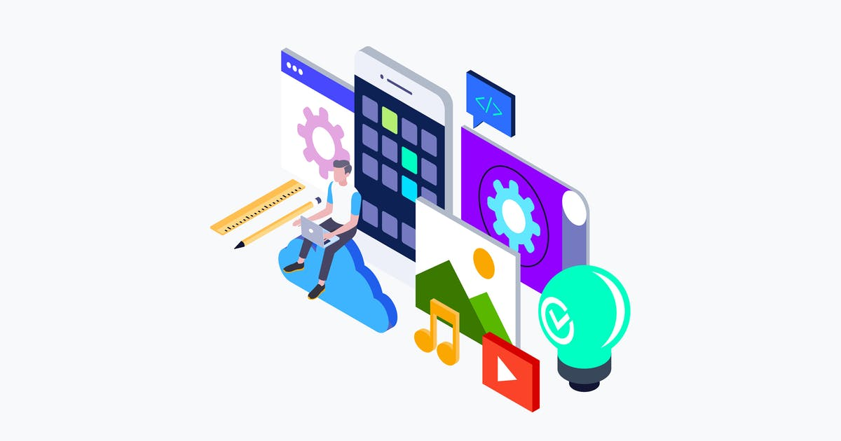 Download App Development Isometric Illustration by angelbi88
