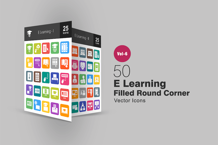 50 E Learning Filled Round Corner Icons