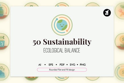 50 Nachhaltigkeits-Symbol Pack