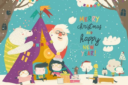 Kids celebrating Christmas with animals and Santa