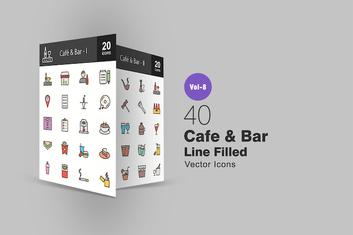 Thumbnail for 40 Cafe & Bar Line Filled Icons