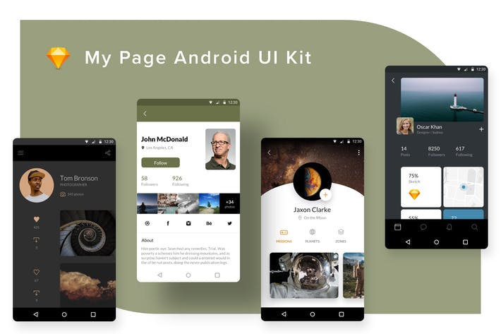 Thumbnail for My Page Android UI Kit (Sketch)