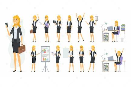 Hübsche Geschäftsfrau - Vektor Zeichensatz