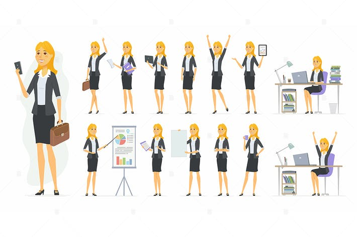 Thumbnail for Pretty businesswoman - vector character set