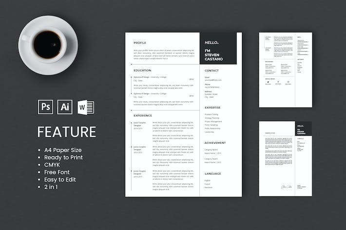 Thumbnail for Professional CV And Resume Template Steven Castano