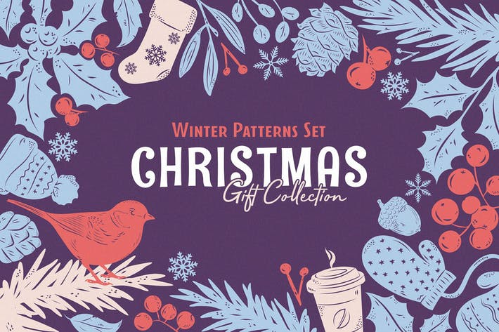 Cover Image For Christmas Gift: Vector Patterns Set