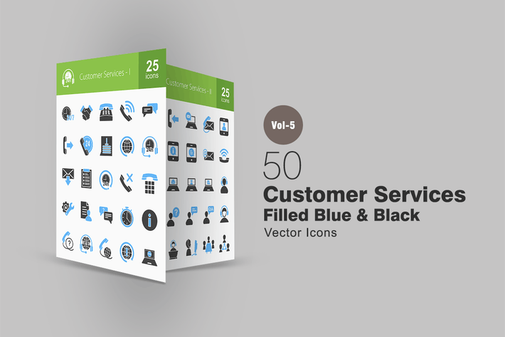 Thumbnail for 50 Customer Services Blue & Black Icons