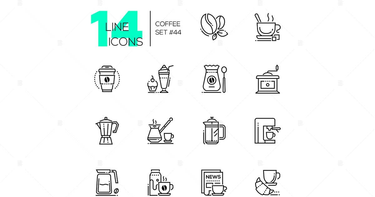 Download Coffee set - line design style icons by BoykoPictures