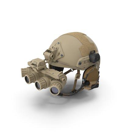 Taktischer Helm Sand Camo mit Fell