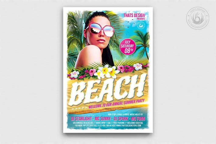 Thumbnail for Beach Party Flyer Template V4