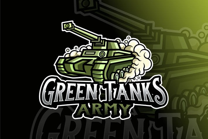 Thumbnail for Green Tank Army Logo Template