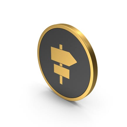 Gold Icon Road Sign Post