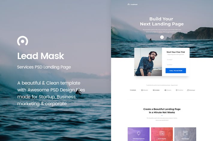 Thumbnail for LeadMask - Services PSD Landing Page