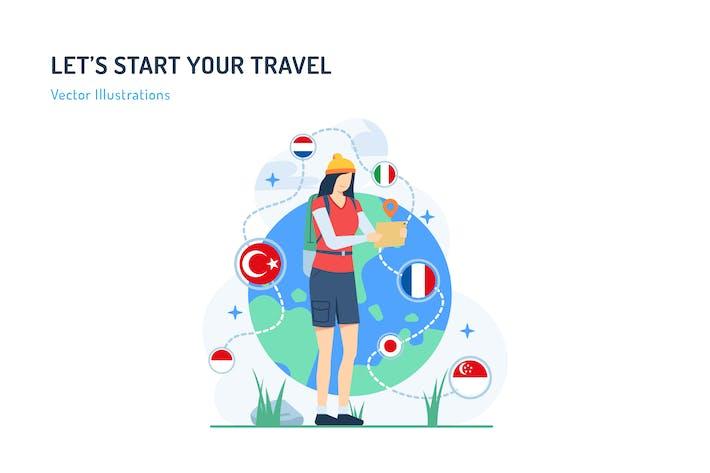 Thumbnail for Lassen Sie uns Ihre Reise beginnen - Travel Illustration