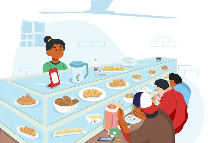 Thumbnail for People at Food Court Activity Illustration