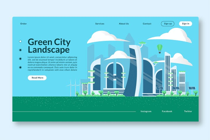 Thumbnail for Green City Landscape - Web Header & Vector GR