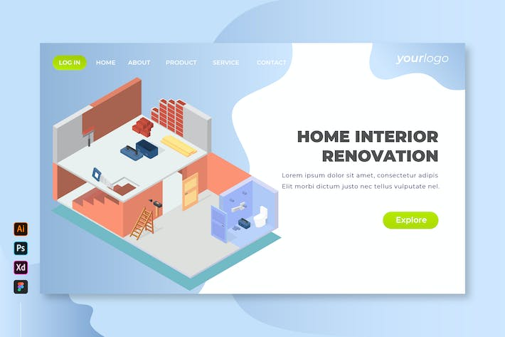 Thumbnail for Home Interior Renovation - Isometric Landing Page