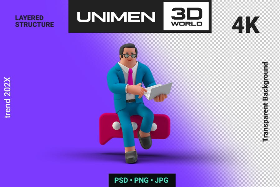 Businessman 3D typing Message on Laptop