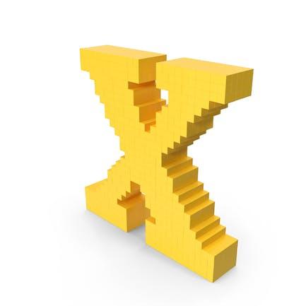 Estilizado de dibujos animados Voxel Pixel Art Letra X