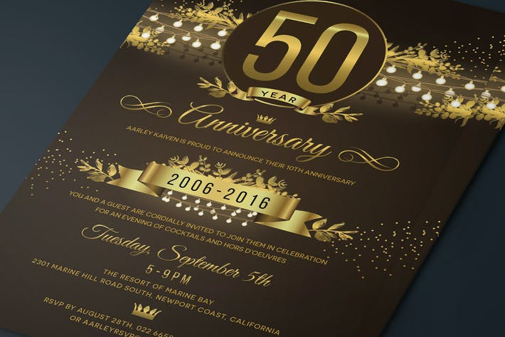 Cover Image For String Lights Anniversary Invitation