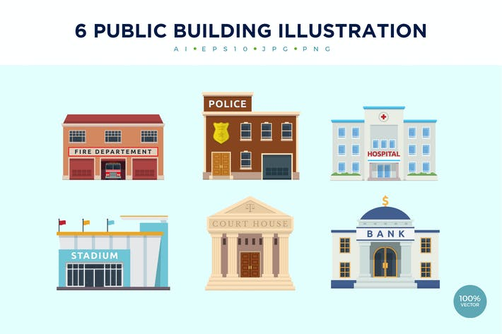 Thumbnail for 6 Modern Public Building Vector Illustration Set 1