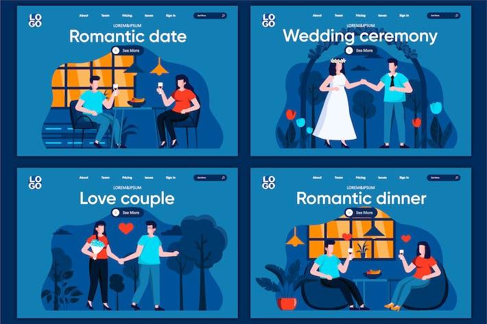 Thumbnail for Romantic Date Flat Concept Landingpage Vorlage