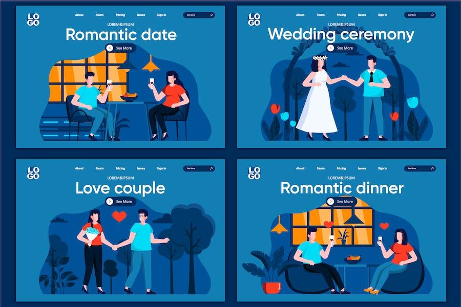 Modèle de page d'accueil du concept de date romantique