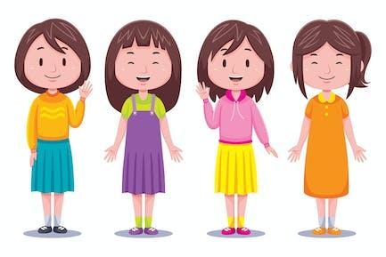 Nette Mädchen Kinder Illustration
