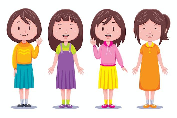 Thumbnail for Nette Mädchen Kinder Illustration