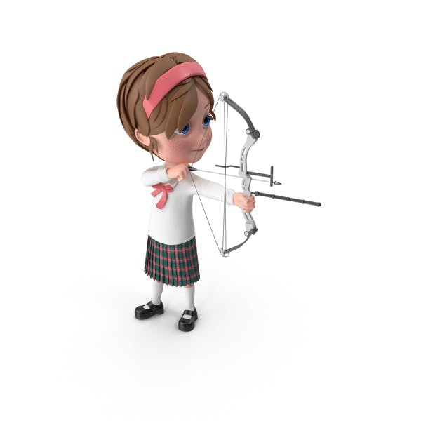 Cartoon Girl Meghan Using Bow