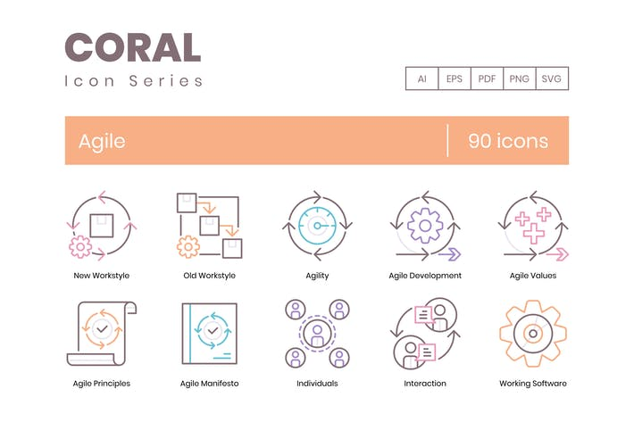 Thumbnail for 90 Agile Development Line Icons