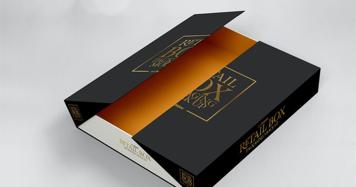 Download Fold Up Retail Thin Box Packaging Mockup by ina717