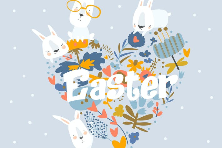 Thumbnail for Cute cartoon Easter bunny with flowers. Vector