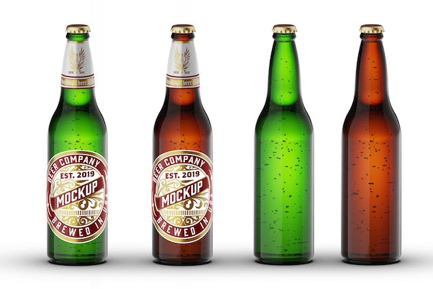 Green / Brown Glass Beer Bottle Mockup