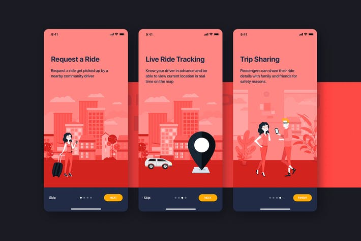 Thumbnail for Car Booking UI Móvil Concepto - Onboarding