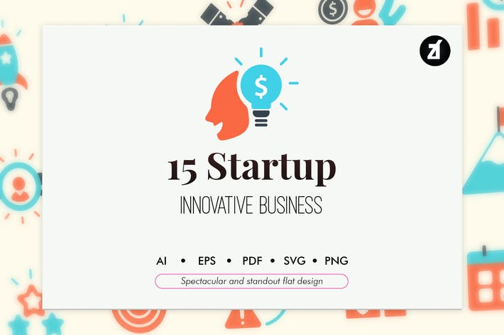 Thumbnail for 15 Startup elements in flat design