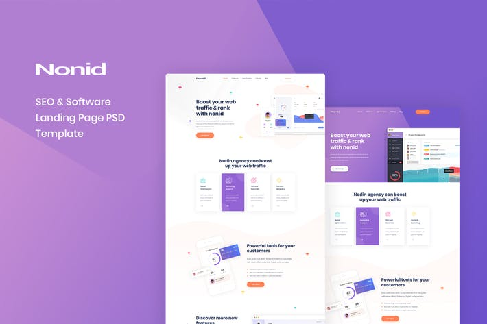 Thumbnail for Nonid - SEO & Software Landing Page PSD Template