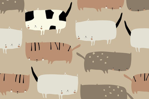 Vector seamless pattern with cute funny cats
