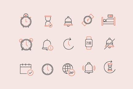 15 Icons für Zeitalarmbenachrichtigung
